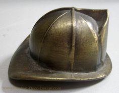 "Firefighter Helmet large brass vintage 3"" bottle opener"