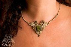 Beautifull macrame necklace with Unakite stone by CallistoMacrame