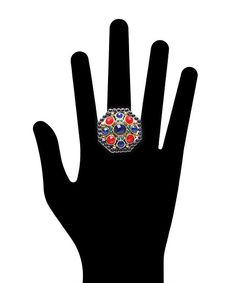 Spring Time Jewel Ring - Red and Blue  $9