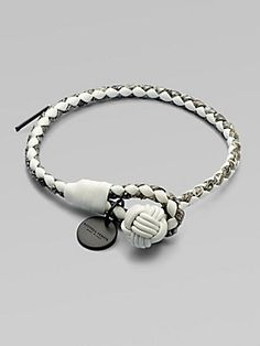 Bottega Veneta Leather Knot Bracelet   Supple lamb leather in solid and textured strips, braided and finished with a stylish knot closure.