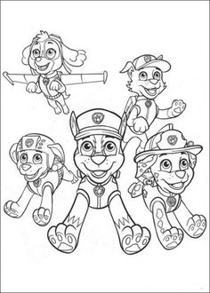 Paw Patrol Characters 4 Coloring Page - Free Coloring Pages Online