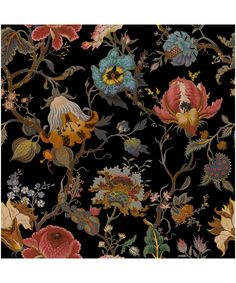 Breathe life into plain walls with the Artemis Wallpaper from House of Hackney. Trendy Wallpaper, New Wallpaper, Black Wallpaper, Flower Wallpaper, Pattern Wallpaper, Wallpaper Backgrounds, Floral Print Wallpaper, Black Backgrounds, William Morris