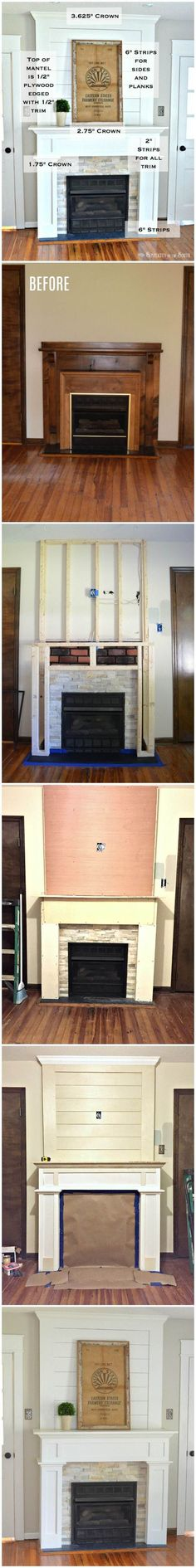 Such an easy way to do a DIY farmhouse style fireplace makeover on a budget with shiplap above the mantle and using stone tile and ply wood