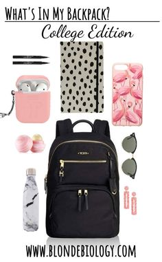 What to Pack in your college backpack! By Blonde Biology. : What to Pack in your college backpack! By Blonde Biology. School Goals, School Kit, Life Hacks For School, College Backpack Essentials, School Bag Essentials, Purse Essentials, Airplane Essentials, Middle School Supplies, College School Supplies