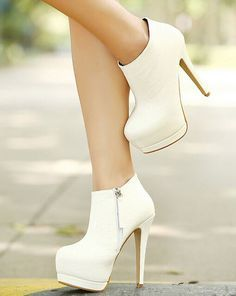 Gorgeous White High Heels Booties