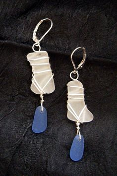 Blue and Clear Frosted Seaglass Earrings wrapped in Sterling Silver