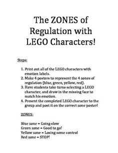 A lesson to supplement the ZONES of Regulation curriculum, written by Leah Kuypers, MSEd, OT/RL. This lesson features LEGO characters to help students identify emotions, and draw in the appropriate face for each emotion. This can be taught as a group or individual lesson.
