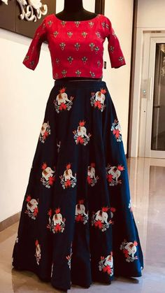 Stunning blue color lehenga and red color designer blouse. Lehenga with elephant design hand embroidery thread work. Ready to shipPrice : 8000 INR.(Available for kids too)To order whatsapp 7013728388 . Sari Blouse Designs, Designer Blouse Patterns, Salwar Designs, Lehenga Designs, Designer Blouses For Lehenga, Designer Dresses, Lehenga Pattern, Indian Skirt, 14 June