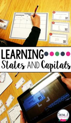 Learning the states and capitals by region can be so much fun by using task cards with QR codes! Teaching First Grade, Teaching Time, Teaching Math, Teaching Ideas, Preschool Ideas, Geography Lesson Plans, Geography Activities, Learning Activities, 5th Grade Classroom