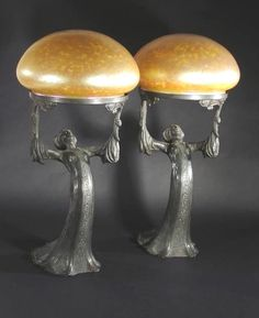 Pair of Art Nouveau Gustav Gurschner (1873-1971) lamps with Loetz irridescent shades, signed Gurschner 343/112 Made in Austria, c 1900