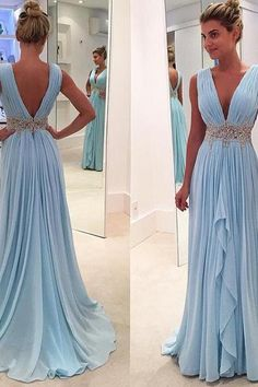 High Sexy V-Neck Beading Pleat Chiffon Long Prom Dress, Custom Made Formal Evening Gowns,Fashion Women Dresses
