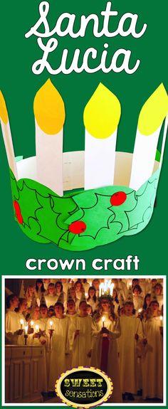 Santa Lucia crown for kids.  St. Lucia Saint Lucy Saint Lucia