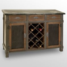 Find it at the Foundary - Wood Wine Cabinet. $358.  Wood wine cabinet  2 doors and 3 drawers  Weathered finish  Dimensions: 45W x 16D x 32H inches