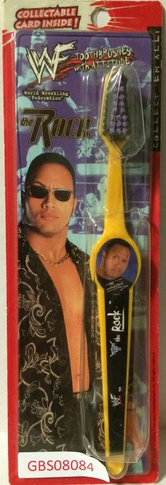 1999 WWF WWE Wrestling Attitude ToothBrush - The Rock This item is NOT in Mint Condition and is in no way being described as Mint or even Near Mint. Our toys have not always lead the perfect life, nor