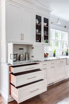 Kitchen White Cabinets Polished Nickel Hardware Landscape Design - Well Balanced Home Landscaping Ba Diy Kitchen Cabinets, Kitchen Redo, Home Decor Kitchen, Home Kitchens, Modern Kitchen White Cabinets, White Appliances In Kitchen, Custom Kitchens, Kitchen Cabinets With Hardware, Kitchen Island Cabinetry