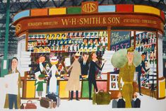 """illustration of W H Smiths the newsagents from vintage """"This is London"""" book by Miroslav Sasek"""