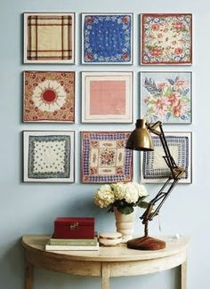 framed vintage handkerchiefs, via Angela Steyn