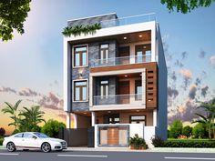 Building Elevation, House Elevation, Indian House Plans, Front Elevation Designs, Bungalow Exterior, Partition Design, House Front Design, Indian Homes, False Ceiling Design