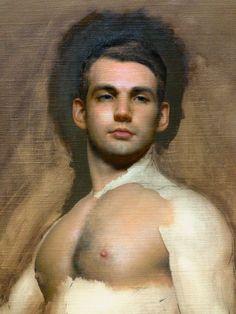 'Figure painting in progress' by Patrick Byrnes. Oil on linen.