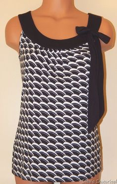 Women's XS Top ANN TAYLOR LOFT Loose Fitting Black & White With Bow #AnnTaylorLOFT #Tunic #Clubwear
