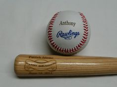 1 Personalized Baseball and 1 Mini Bat by JakesCustoms on Etsy, $30.00