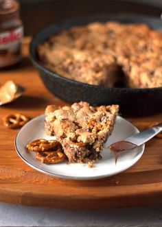 Peanut Butter Chocolate Chip and Pretzel Skillet Cookie with Nutella - A Cookie Named Desire