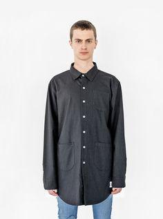 Profound Aesthetic Elongated Button Down Canvas Shirt in Black. Spring Summer 2016 Flight Through the Gardens Collection. http://profoundco.com