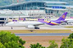 Thai Airways Airbus A330 in Phuket puzzle in Aviation jigsaw puzzles on TheJigsawPuzzles.com. Play full screen, enjoy Puzzle of the Day and thousands more.