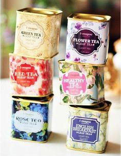 Oh I want! Pretty little tea tins