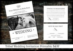 TRIBAL B&W WEDDING INVITATION Printable / Rsvp and Info Card Included / Custom Design Printables by OstrichSistersDigits on Etsy