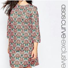 Asos curve flower print shift dress This is a reposh. It is brand new with tags and has a stunning floral print. It's a beautiful dress it just didn't look good on me. If you have any questions feel free to ask  price is firm ASOS Curve Dresses