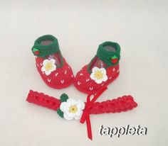 #strawberry #baby #booties and headband babygirl knitted от tappleta