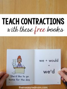 Are you teaching your students how to read and write contractions?Contractions aren't exactly a high interest topic, but these funny books will liven them up!  These five printable books are set 18 in my collection of free phonics books. Get your FREE books at:  http://www.themeasuredmom.com/teach-kids-read-contractions-fun-new-books/