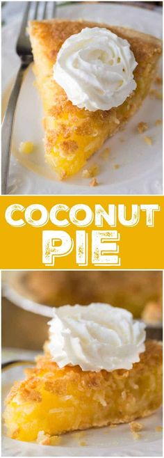 Coconut Pie - Good old-fashioned pie like grandma used to make. This mouthwatering dessert will melt in your mouth and be a hit with your family. Köstliche Desserts, Delicious Desserts, Dessert Recipes, Yummy Food, Coconut Recipes, Tart Recipes, Baking Recipes, Yummy Chicken Recipes, Sweet Recipes