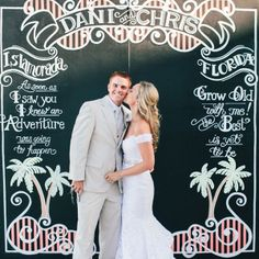 We love this creative blackboard featuring the wedding location and the couple's favorite love quotes!