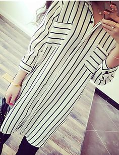 2017 New Spring Loose Women Striped Long Shirt Summer Casual Blouse Turn Down Collar Slim Vertical Chiffon Blouse Cheap Womens Tops, Going Out Shirts, Plus Size Shirts, Simple Shirts, Summer Blouses, Loose Tops, Chiffon Shirt, Long Blouse, Shirt Style