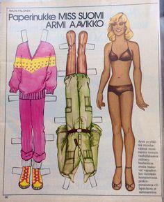 Armi Aavikko, Miss Finland paperinukke Dress Up Dolls, Barbie Dolls, Paper People, Boho Grunge, Vintage Paper Dolls, Teenage Years, Old Toys, 70s Fashion, Vintage Ads
