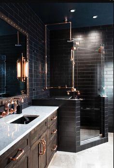 Home Interior Salas .Home Interior Salas Interior Design Minimalist, Modern House Design, White Subway Tile Bathroom, Subway Tiles, Black Tile Bathrooms, Modern Bathrooms, Small Bathrooms, Dream Bathrooms, Black Decor