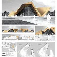 Art Sketchbook Ideas: Creative Examples to Inspire High School Students Concept Models Architecture, Architecture Presentation Board, Pavilion Architecture, Sustainable Architecture, Residential Architecture, Contemporary Architecture, Architecture Design, Landscape Architecture, Pavillion Design