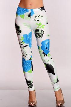 White Floral Print Leggings