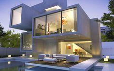 Moderne Architektur: Kubus-Villa mit Flachdächern und Pool