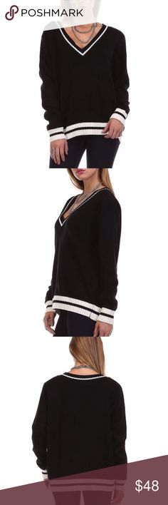 Relaxed Fit V Neck Sweater Classic relaxed fit medium weight V neck sweater.  Size S/M fits a range of sizes 2-8. Size M/L fits a range of sizes 6-12.  Material: 65% Acrylic; 25% Mohair; 10% Wool.  Price is firm unless bundled.   Sweaters