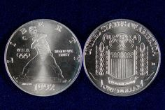 These 1992 90% silver commemorative dollars were released in honor of the XXV Olympiad. The coin features a baseball pitcher that was designed by John R. Deecken. Although Deecken never outright stated the inspiration for the image, it is often said that the image was modeled after the photo on Nolan Ryan's baseball card. These brilliant uncirculated strikes were minted at the Denver mint.
