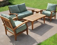 Teak Patio Furniture Set - Outdoor from Kohl's on Catalog Spree Outdoor Sofa Sets, Outdoor Patio Bar, Outdoor Spaces, Outdoor Living, Outdoor Decor, Patio Dining, Dining Set, Indoor Outdoor, Patio Lounge Furniture