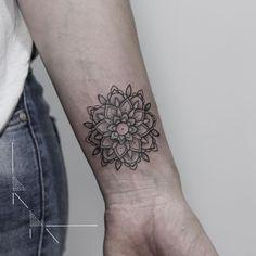 "704 Likes, 7 Comments - ✤ Tattoo + Illustration ✤ (@rachainsworth) on Instagram: ""Miniature wrist mandala for Marie. Thank you! . ➖➖ . #rachainsworth #berlintattoo #wristtattoo…"""