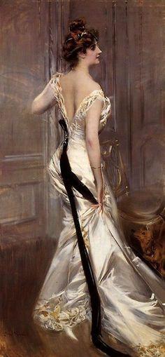 Giovanni Boldini, Black Sash, satin, perfect