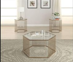 Oaklie Champagne Glass Metal Coffee Table Set