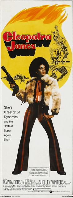 """Blaxploitation"",with its' stories drawn from and set down on ghetto streets in America would also mark the rise of Black women actors including Tamara Dobson in Cleopatra Jones. Good Girl, Cleopatra, Cinema Posters, Movie Posters, Retro Posters, African American Movies, Shows, Held, Classic Movies"