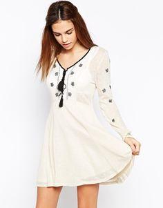 Glamorous Folk Embroidery Skater Dress