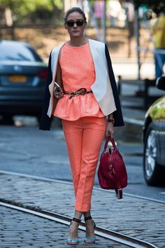 Olivia Palermo in DVF & MSGM. Sleek coral playsuit. #rasspstyle #streetstyle #summer #trend
